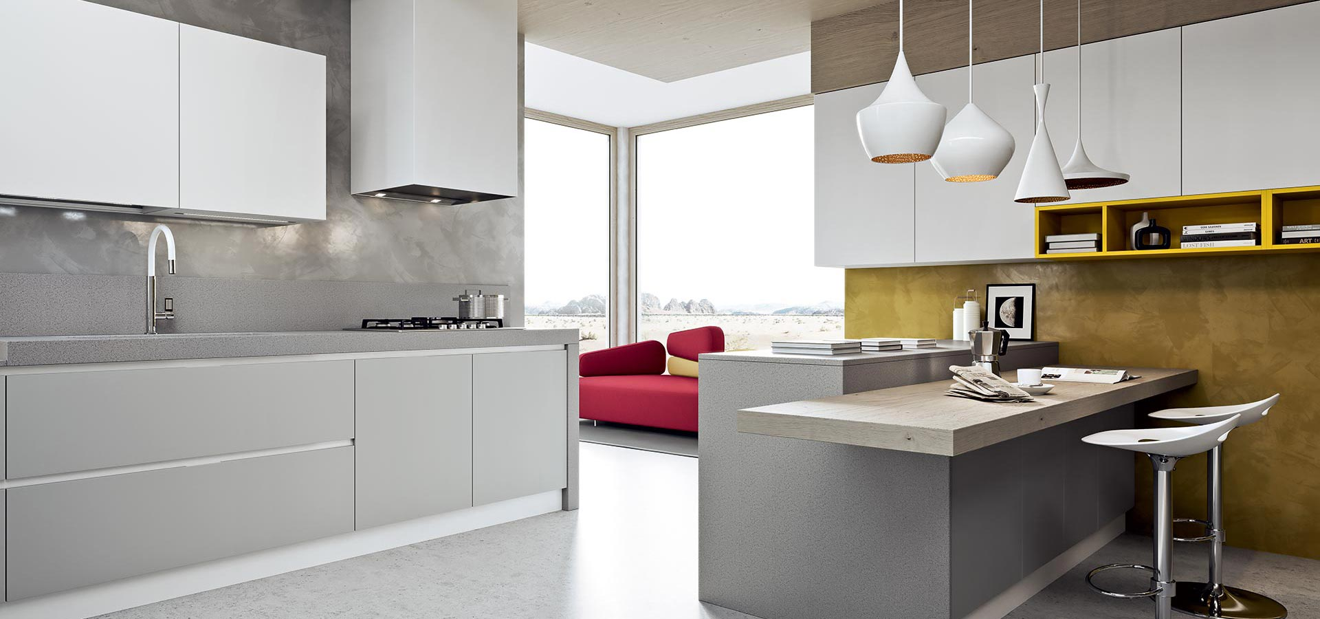 Arredamenti gallomobili mobili udine cucine moderne cucina luna - Cucine grigio perla ...